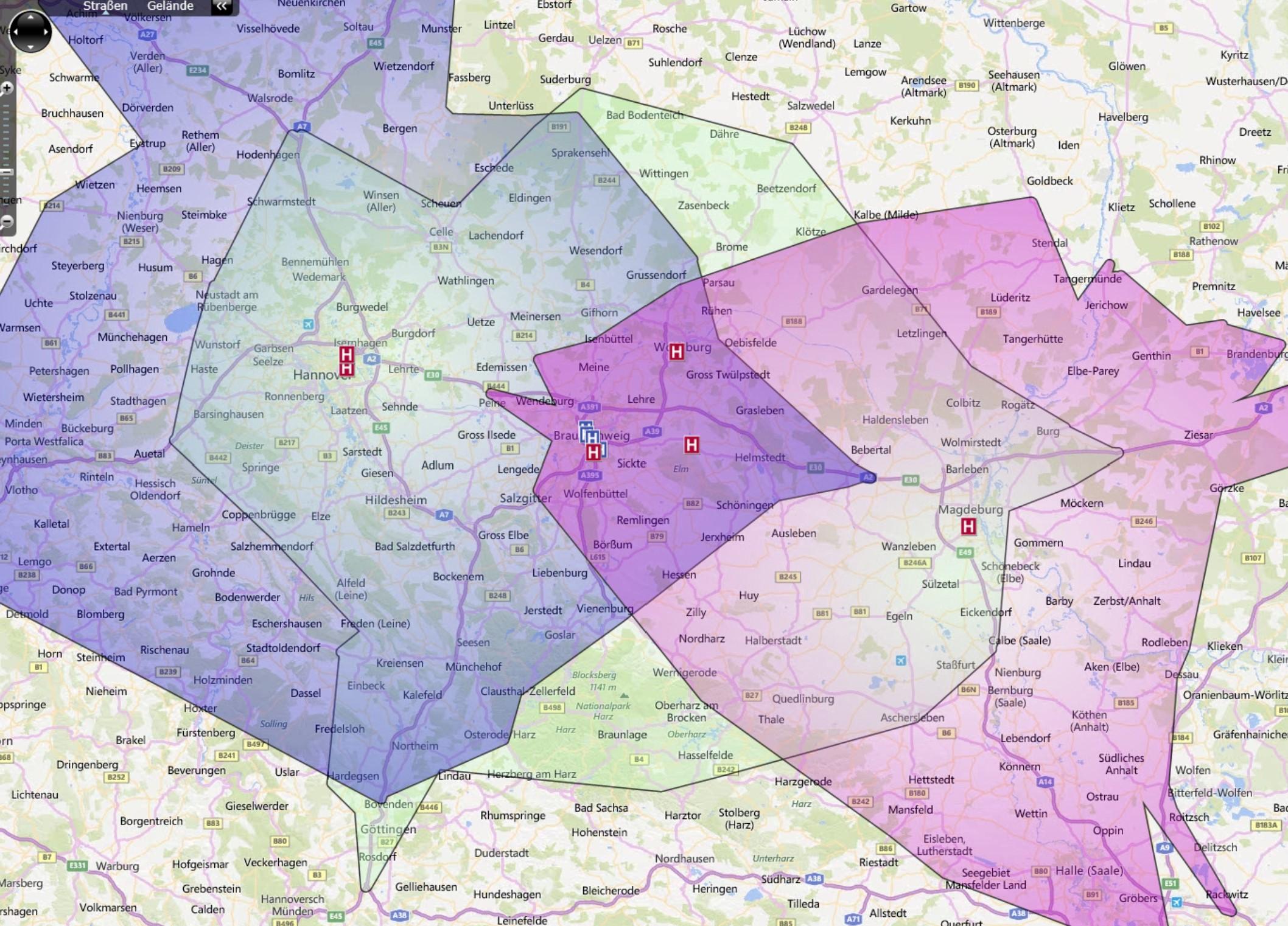Individuell berechnete Fahrzeitpolygone für mehrere Krankenhaus-Standorte