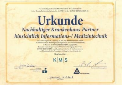 Auszeichnug - Nachhaltiger Krankenhauspartner, Urkunde